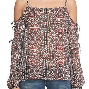 NWT 1. State Floral Print Cold Shoulder Blouse - S